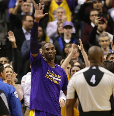 Los Angeles Lakers Kobe Bryant plays last game at the ACC in Toronto, Ont. on Monday December 7, 2015. Craig Robertson/Toronto Sun/Postmedia Network