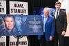 Glen Sather and Edmonton Mayor Don Iveson stand next to a special plaque noting the $1 million donation in Sather's name for programs at the community arena connected to Rogers Place. (Codie McLachlan, Edmonton Sun)