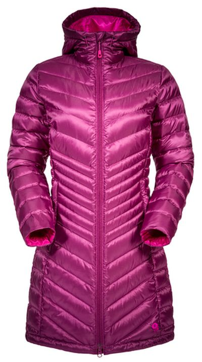 """Dressed for a winter wonderland in Mountain Hardwear's Nitrous hooded down parka that's lightweight but performs like a jacket; available at <a href=""""http://www.mountainhardwear.ca/"""">mountainhardwear.ca</a>."""