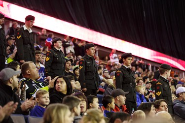 Cadets participate in the national anthem ceremony during a WHL game between the Edmonton Oil Kings and the Medicine Hat Tigers at Rexall Place in Edmonton, Alta. on Sunday December 13, 2015. Ian Kucerak/Edmonton Sun/Postmedia Network