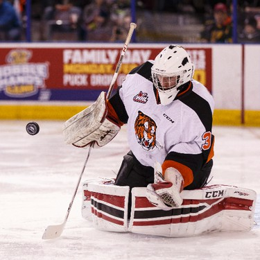 Medicine Hat goaltender Mark Shields makes a save during a WHL game between the Edmonton Oil Kings and the Medicine Hat Tigers at Rexall Place in Edmonton, Alta. on Sunday December 13, 2015. Ian Kucerak/Edmonton Sun/Postmedia Network