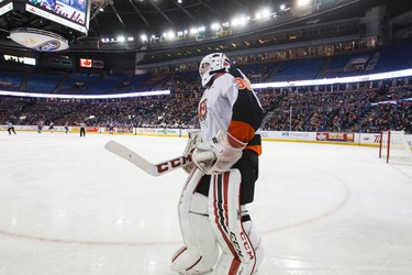 Medicine Hat goaltender Mark Shields takes a skate after being scored on during a WHL game between the Edmonton Oil Kings and the Medicine Hat Tigers at Rexall Place in Edmonton, Alta. on Sunday December 13, 2015. Ian Kucerak/Edmonton Sun/Postmedia Network