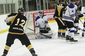Vermilion Jr. B Tigers forward Dylan Elke just misses finding a gap underneath the pad of Cold Lake goaltender Cody Janzen on Saturday night at the Vermilion Stadium. The Tigers, after winning 7-4 against Saddle Lake on Friday, dropped an important 5-4 decision to the Ice.
