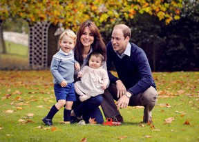 Britain's Prince William, his wife Kate, and their children George, left, and Charlotte pose in a photo taken in late October 2015, and handed out by Kensington Palace on Dec. 18, 2015. (REUTERS/Chris Jelf/Handout)