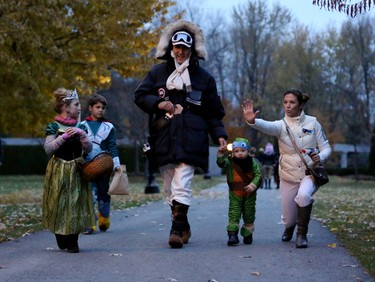 Saturday, Oct. 31, 2015 Ottawa -- PM-designate Justin Trudeau as Hans Solo and his wife Sophie as Princess Leia along with their children begin their journey of trick or treating Saturday, Oct. 31, 2015 in New Edinburgh. Photo by Adam Scotti.