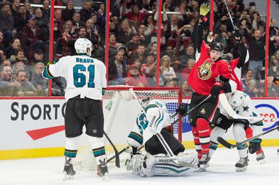 Dec 18, 2015; Ottawa, Ontario, CAN; Ottawa Senators right wing Bobby Ryan (6) celebrates after scoring a goal past San Jose Sharks goalie Alex Stalock (32) in the second period at the Canadian Tire Centre. Mandatory Credit: Marc DesRosiers-USA TODAY Sports