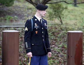 U.S. Army Sergeant Bowe Bergdahl leaves the courthouse after an arraignment hearing for his court-martial in Fort Bragg, North Carolina, December 22, 2015. Bergdahl, who spent five years as a Taliban prisoner after walking away from his combat outpost in Afghanistan in 2009, did not enter a plea on Tuesday at his arraignment on charges spurred by his disappearance.  REUTERS/Jonathan Drake