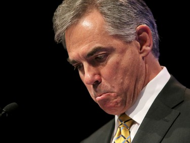An emotional Alberta Premier, Jim Prentice speaks at the Progressive Conservative Party annual Calgary Leaders Dinner after a fall from grace at the Telus Convention Centre in Calgary, Alta. on Thursday May 14, 2015. Stuart Dryden/Postmedia Network