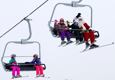 Santa Claus stops by the Snow Valley Ski Hill, in Edmonton Alta. on Thursday Dec. 24, 2015. Snow Valley will be closed Christmas Day and reopen Boxing Day. David Bloom/Edmonton Sun/Postmedia Network