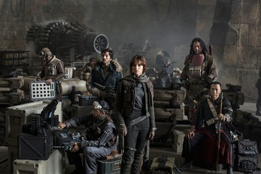 """Star Wars: Rogue One features Felicity Jones, Diego Luna, Ben Mendelsohn, Donnie Yen, Jiang Wen, Forest Whitaker, Mads Mikkelsen, Alan Tudyk and Riz Ahmed. """"Rogue One takes place before the events of Star Wars: A New Hope and will be a departure from the saga films but have elements that are familiar to the Star Wars universe,"""" producer Kathleen Kennedy said in a statement. The film opens Dec. 16, 2016."""