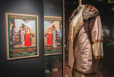 A coat probably worn by Agatha Christie when she first rode the Orient Express is seen at the Agatha Christie exhibit at the Pointe a Calliere Museum, Tuesday, December 22, 2015 in Montreal. THE CANADIAN PRESS/Paul Chiasson