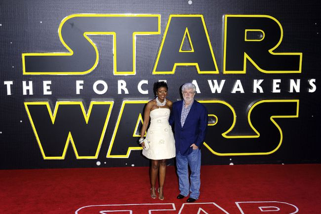 "George Lucas and wife Mellody Hobson attend the European premiere of ""Star Wars: The Force Awakens"" at Leicester Square, London, Dec. 16, 2015. (Dave Bedrosian/Future Image/<A HREF=""http://www.wenn.com"" TARGET=""newwindow"">WENN.COM</a>)"