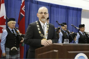 Jason Miller/The Intelligencer Mayor Taso Christopher underscores the successes of 2015 and goals for 2016 during his public address at the New Year's Civic Levee hosted at the sports centre on Friday.