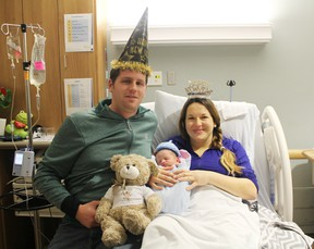 Tillsonburg residents Adam and Fiona Navickas are the proud parents of Oxford County's 2016 New Year's Baby. Zack Logan Navickas, their first child, was born at 11:58 a.m. on Jan. 1. (MEGAN STACEY/Sentinel-Review)