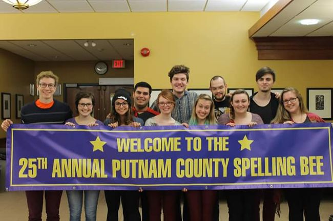Cast of 25th Annual Putnam County Spelling Bee (l-r): Patrick Avery-Kenny (Barfeé), Bernadette James (Marcy), Nikki Pasqualini (Olive), Robert Popoli (Leaf), Christine Gruenbauer (Stage Manager), Jack Phoenix (Mitch), Hailey Hill (Director), Wyatt Merkley (Vice Principal Panch), Shelby Price (Assistant Director), Stephen Ingram (Chip), Christine Rabey (Rona Lisa Peretti) Missing from photo Sammy Koladich (Logainne) and two dads and mom (Matt Butler, Sam Boer, and Abigail Veenstra). Photo supplied