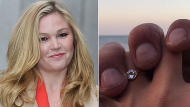 Ring: Solitaire in a rose gold setting Worn by: Julia StilesThe actress broke the new to her fans to her engagement to camera assistant Preston J. Cook on Instagram. (Rocky/WENN.com & Instagram/missjuliastiles)