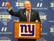 New York Giants former head coach Tom Coughlin addresses the media during a press conference at Quest Diagnostics Training Center. Jim O'Connor-USA TODAY Sports