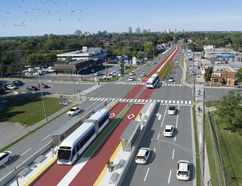 An artist's rendering, looking north, illustrates London's proposed bus rapid transit line at Base Line and Wellington roads