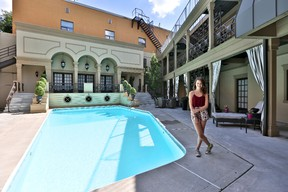 """Sara Waisglass of the Family Channel's Degrassi: Next Class at poolside. She describes her TV home as """"ridiculously gorgeous."""""""