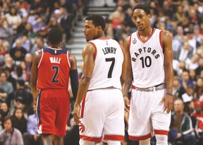 Though it's not a given they will leave the Raptors when they opt out of the final year of their contracts, DeMar DeRozan (right) and Kyle Lowry could still both be playing elsewhere two seasons down the road. And that is a scenario that GM Masai Ujiri must be aware of when planning short term. (USA Today Sports)