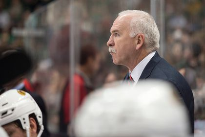 Chicago Blackhawks head coach Joel Quenneville watches his team take on the against the Dallas Stars during the third period at the American Airlines Center. The Stars shut out the Blackhawks 4-0. Jerome Miron-USA TODAY Sports