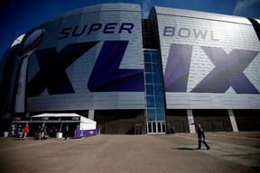 The exterior of University of Phoenix Stadium is seen prior to Super Bowl XLVIX between the Seahawks and Patriots in Glendale, Ariz., on Feb. 1, 2015. (Justin Heiman/Getty Images/AFP)