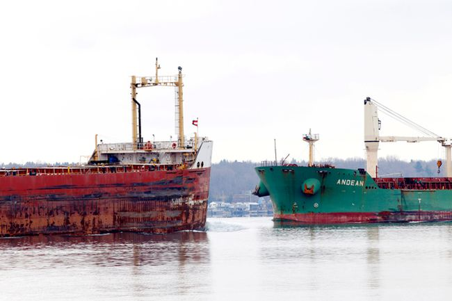 The Cedarglen and the Andean meet in the middle of the shipping channel at Brockville in late November. While the Port of Johnstown had one of its best years in 2015, the St. Lawrence Seaway did not, closing the season close to 10 per cent down in traffic from 2014.