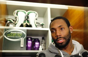 New York Jets cornerback Antonio Cromartie speaks to reporters in front of his locker at the team's NFL football training facility Wednesday, Dec. 30, 2015, in Florham Park, N.J.   (AP Photo/Kathy Willens)