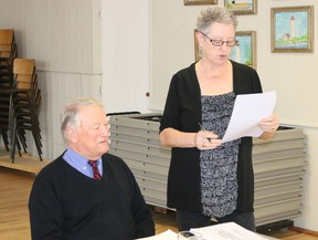 BRUCE BELL/THE INTELLIGENCER Cherry Valley Women's Institute treasurer Lynda Westervelt introduces Prince Edward County Memorial Hospital Foundation chairman Leo Finnegan at its monthly meeting in Cherry Valley this week. Finnegan updated members on foundation and hospital activities.