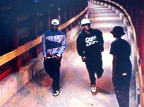 From left, Christian Kadima, Warsama Youssouf and Hanten Hersi are shown in this still from Aug. 11, 2013 surveillance video of the Blair Transitway station, which was entered into evidence at their trial. The three men, and Maher Fafayi, are accused of accosting and then sexually assaulting a 15-year-old girl. (Handout)
