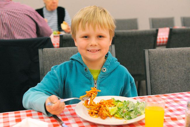 <p>Waterford Public School students held a fundraising spaghetti dinner at the town's United Church on April 22, 2015. With help from parents and students at Waterford District High School, funds collected will go towards next year's Grade 7 and 8 trip to Ottawa. Pictured here, WPS Grade 4 student Jonas Kazakevicius enjoys his meal.</p><p>JACOB ROBINSON/Simcoe Reformer/Postmedia Network