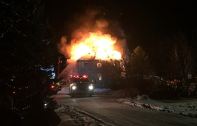 A home more than a century old that once housed the community hospital burns in Glenboro, Man., on Sat., Jan. 17, 2016. (Photo courtesy of Keith Anderson)