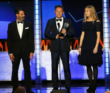 "Producer Mark Burnett accepts the award for Best Reality Show Competition for ""The Voice"" during the 21st Annual Critics' Choice Awards in Santa Monica, California January 17, 2016.  REUTERS/Mario Anzuoni"
