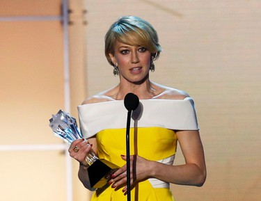 "Carrie Coon accepts the award for Best Actress in a Drama Series for ""The Leftovers"" during the 21st Annual Critics' Choice Awards in Santa Monica, California January 17, 2016.  REUTERS/Mario Anzuoni"