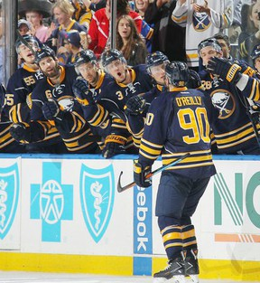 Ryan O'Reilly is congratulated by his teammates. This year the former Seaforth Star has been chosen to play in the 2016 Honda NHL All-Star Game.(Courtesy of the Buffalo Sabres Twitter)