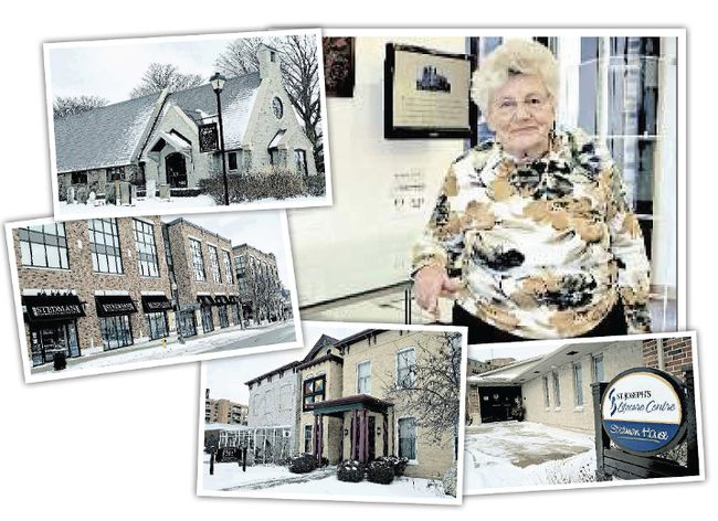 Mary Stedman's legacy of giving continued after her death in November 2014.  Institutions that received funds from her multi-million-dollar estate included Farringdon Independent Church (top left), Wilfrid Laurier University, the Brant Historical Society and the Stedman Hospice.