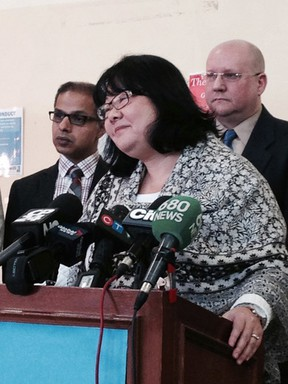 Keiko Nakamura speaks to the media about the Goodwill store closures on Jan. 18, 2016 in Toronto. (Kevin Connor/Toronto Sun)