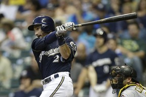 Jonathan Lucroy of the Milwaukee Brewers hits against the Pittsburgh Pirates at Miller Park on September 01, 2015 in Milwaukee. (Mike McGinnis/Getty Images/AFP)