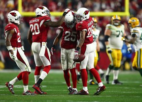 Arizona Cardinals free safety Rashad Johnson celebrates after an interception against the Green Bay Packers in the third quarter in a NFC Divisional round playoff game at University of Phoenix Stadium in Glendale on Jan. 16, 2016. (Mark J. Rebilas/USA TODAY Sports)