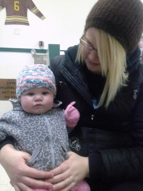 Kristen Hiebert and her daughter Avery are shown in a handout photo. Donations are pouring in to a GoFundMe page for Hiebert, a Manitoba woman who spent a painful and frigidly cold night in a ditch, huddled for warmth with her young daughter after they were thrown from a vehicle in a crash. THE CANADIAN PRESS/HO