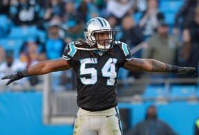 Shaq Green-Thompson of the Carolina Panthers reacts after breaking up a pass against the Washington Redskins during their game at Bank of America Stadium in Charlotte on Nov. 22, 2015. (Grant Halverson/Getty Images/AFP)