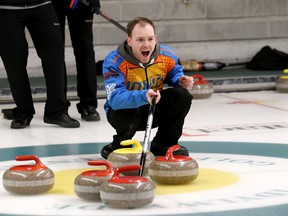 Dustin Montpellier, skip of the Montpellier rink from the Sudbury Curling Club, competes in the Northern Ontario men's East qualifier at the Idylwylde Golf and Country Club in Sudbury, Ont. on Friday January 22, 2016. The competition continues Saturday with draws at 9 a.m., 2 p.m. and 7 p.m., and again Sunday with a draw at 9 a.m. and tiebreakers at 2 and 5 p.m. if necessary at the Idylwylde. The top three teams qualify for the Northern Ontario men's championship, with that winner advancing to the Brier.