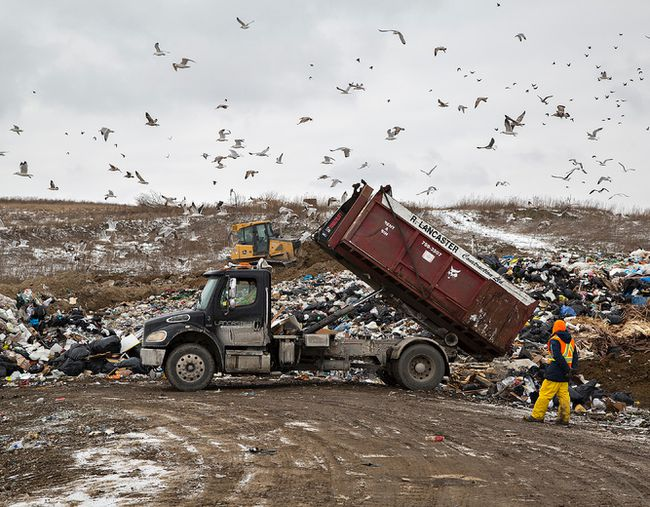 A truck unloads garbage at the city landfill site on Mohawk Street. It is estimated the landfill has 48 years of life left.