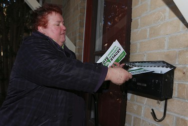 Green Party candidate Stacey Leadbetter canvases for the Whitby-Oshawa byelection on Thursday January 21, 2016. (Veronica Henri/Toronto Sun)