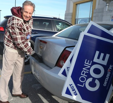 Conservative candidate Lorne Coe at his campaign office for the Whitby-Oshawa byelection on Friday January 22, 2016. (Veronica Henri/Toronto Sun)