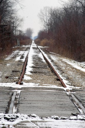 The railroad that runs through Wallaceburg, shown here at Dauw Avenue, has not had any activity for a number of years. Chatham-Kent has tried for the past year to find an operator for the rail linem but with no success. David Gough/ Postmedia Network