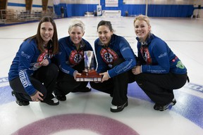 Jenn Hanna's team celebrates their Ontario Scotties win on Jan. 24. (Robert Wilson, OCA)