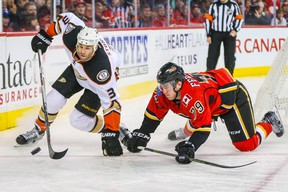 Anaheim Ducks defenceman Clayton Stoner (3) and Calgary Flames winger Micheal Ferland battle for the puck at Scotiabank Saddledome. (Sergei Belski/USA TODAY Sports)