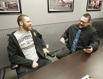 World Wrestling Entertainment NXT star Sami Zayn, left, of Montreal is interviewed by The Whig's Jan Murphy during a media day at the WWE Performance Center in Orlando, Fla. (Courtesy World Wrestling Entertainment)