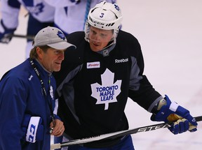 Maple Leafs captain Dion Phaneuf is not surprised by the organization that coach Mike Babcock brings to his work. (DAVE ABEL/Toronto Sun files)
